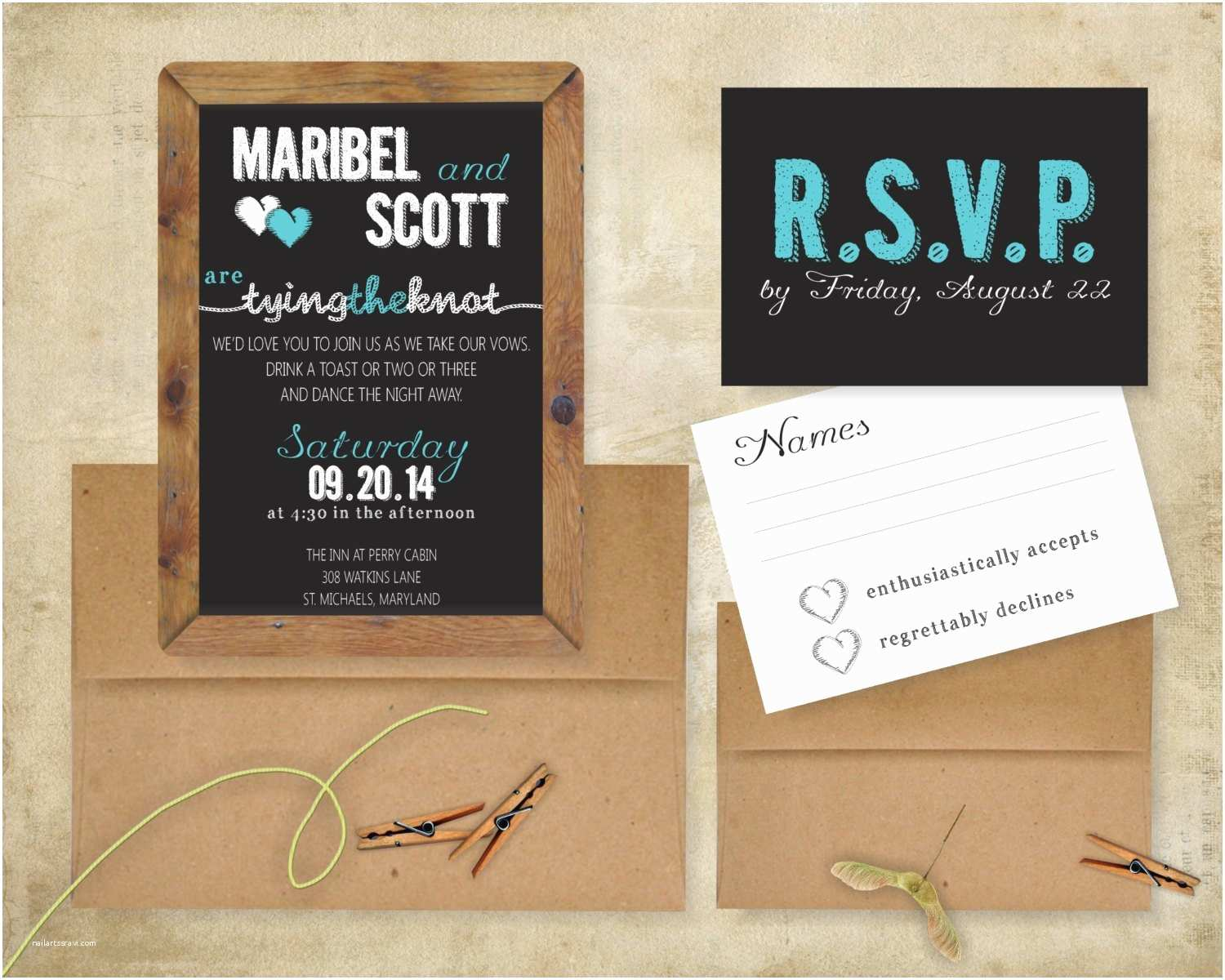 Tying the Knot Wedding Invitations Tying the Knot Chalkboard Rustic Wedding Invitation Suite 5x7