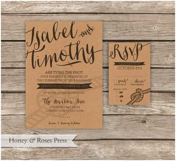 Tying the Knot Wedding Invitations Tying the Knot Wedding Invitation Rustic Kraft Paper