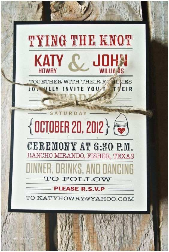 Tying the Knot Wedding Invitations Wedding Invitation Rustic Tying the Knot Black Red