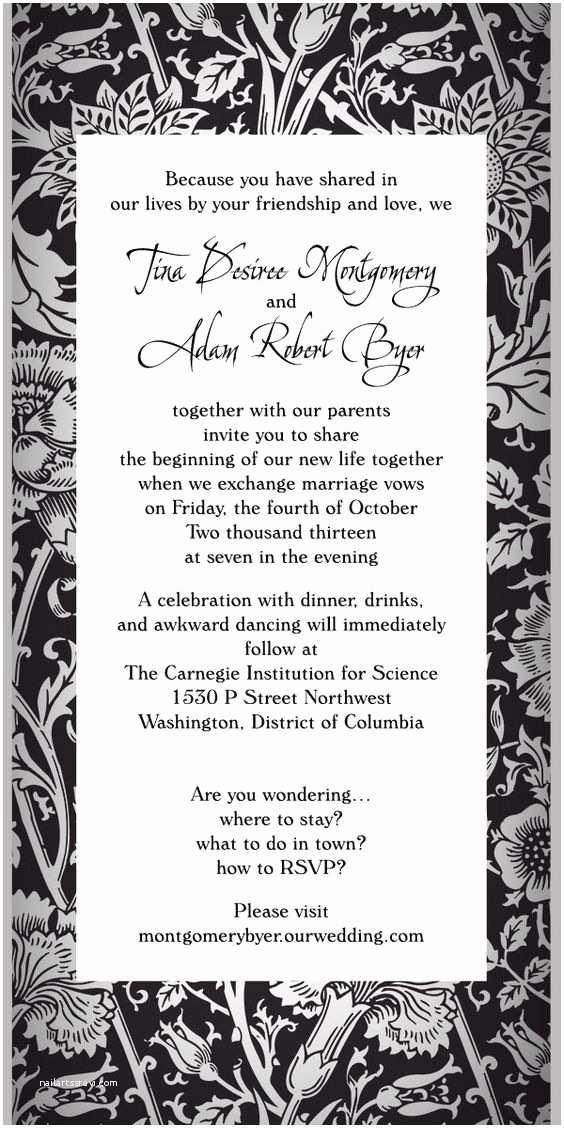 Typical Wedding Invitation Fun Non Traditional Wedding Invitation Wording No Rsvp