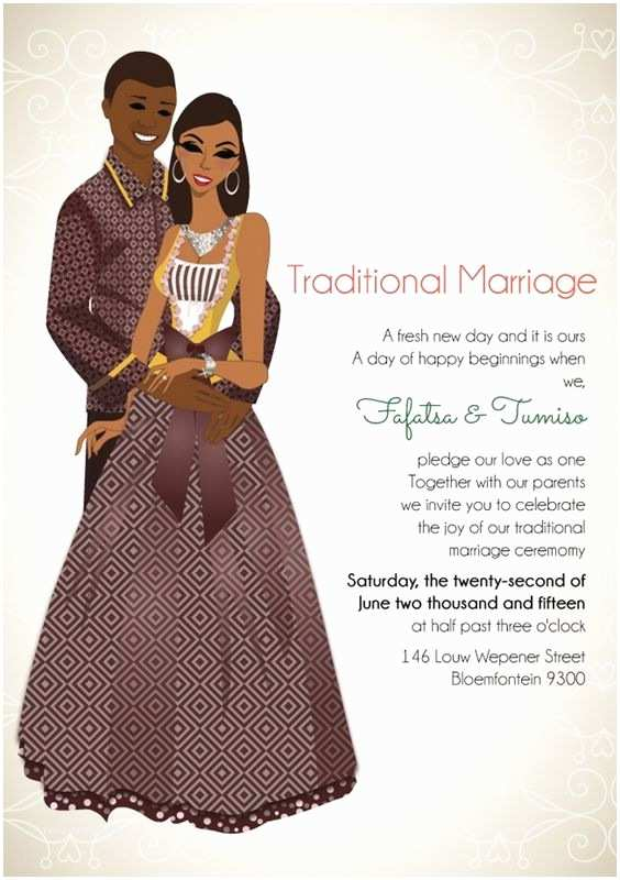Typical Wedding Invitation south African sotho Traditional Wedding Invitation Card