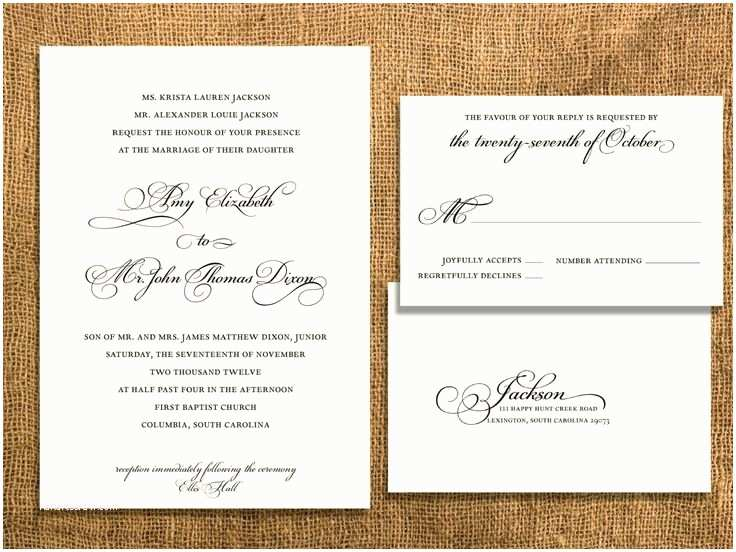 Typical Wedding Invitation Traditional Wedding Invitation with Postcard Rsvp by