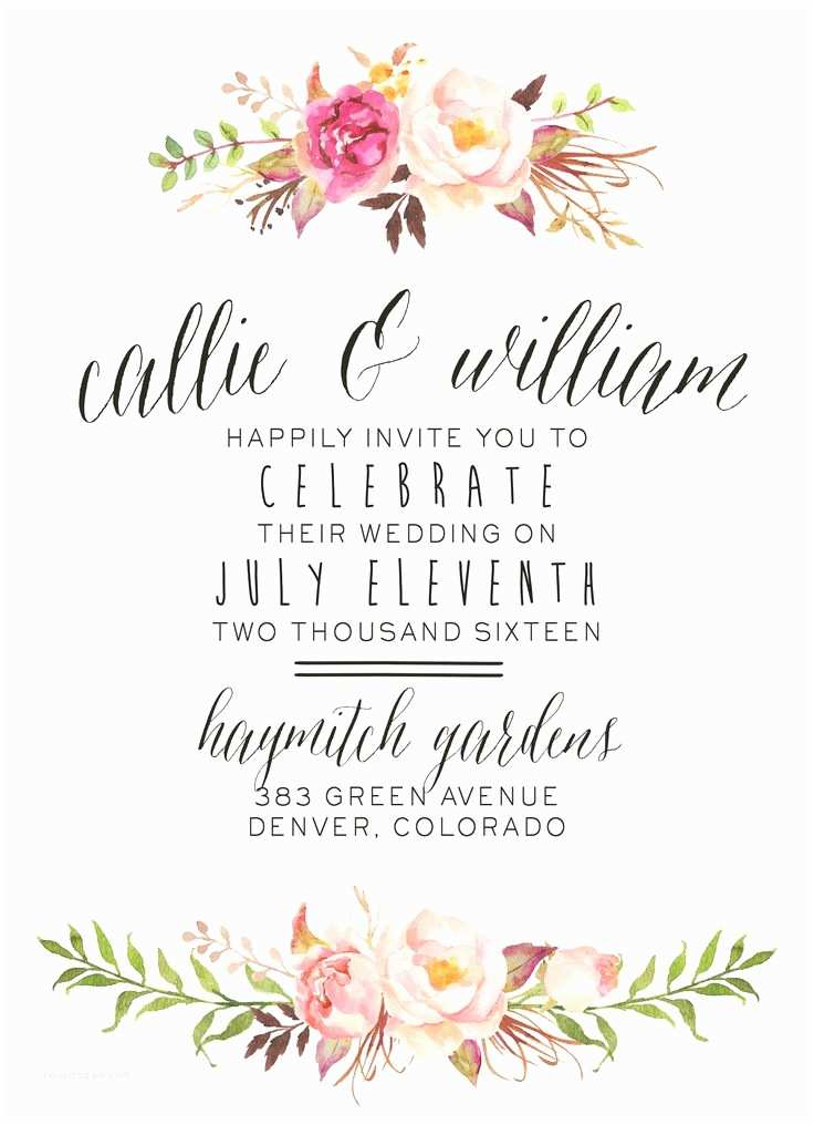 Typography Wedding Invitations the Best Loved Floral Wedding Invitations