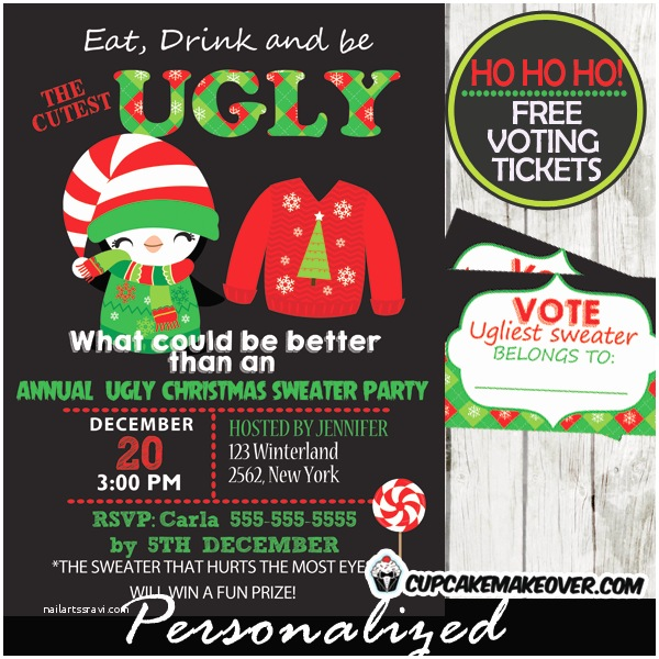 ugly christmas sweater party invitations voting ballots personalized d3