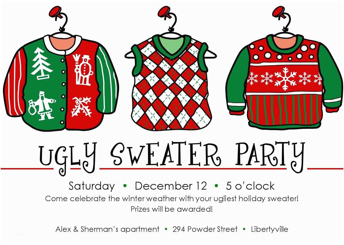 Ugly Christmas Sweater Party Invitations Ugly Sweater Christmas Party Invitations Template
