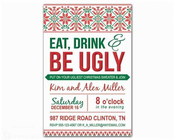 Ugly Christmas Sweater Party Invitations Ugly Sweater Party Invitation – Charming Printables