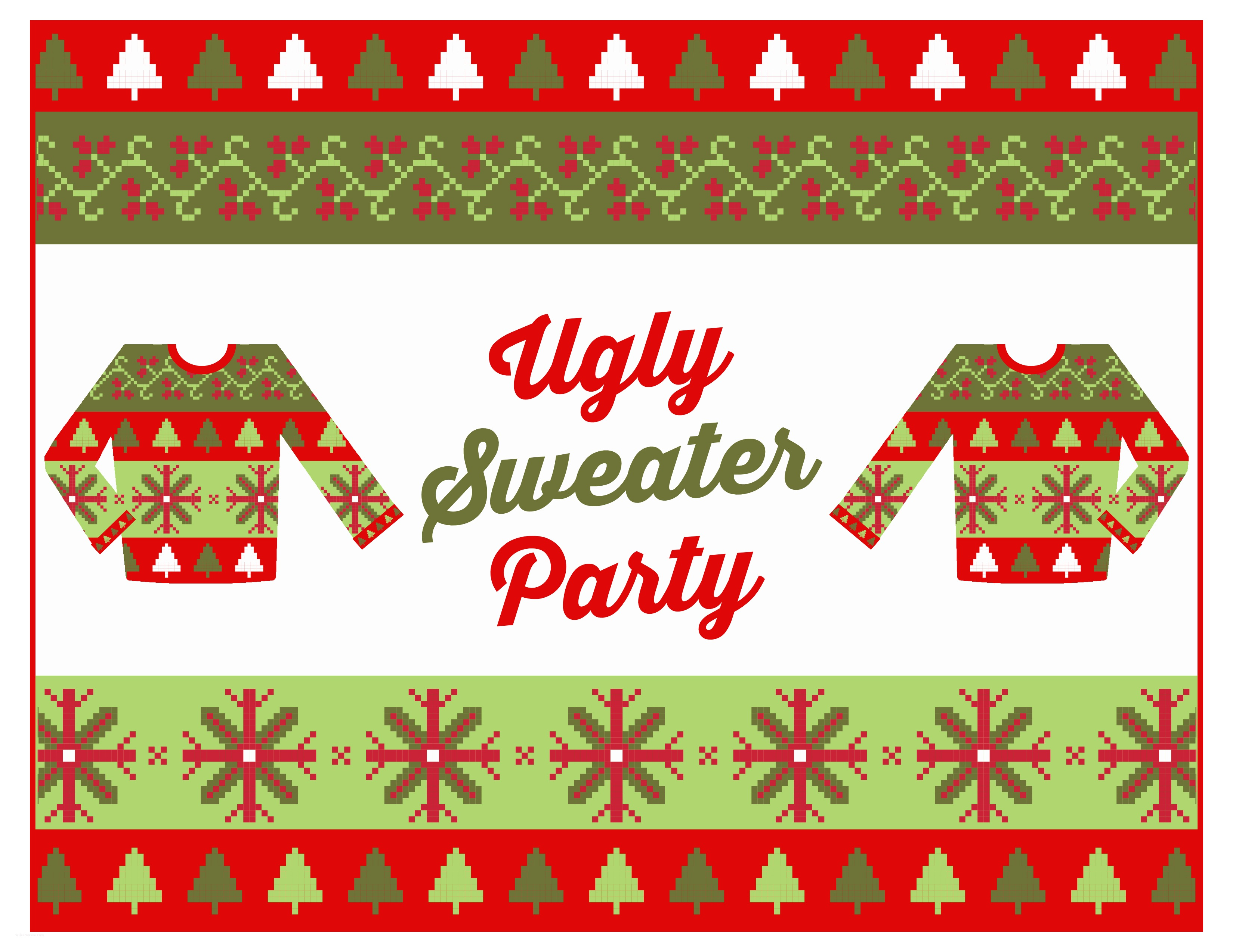 Ugly Sweater Christmas Party Invitations Free Ugly Sweater Party Printables