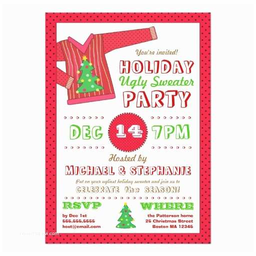 Ugly Sweater Christmas Party Invitations Holiday Ugly Sweater Christmas Party Invitation