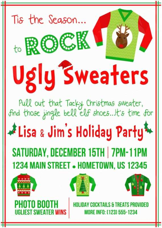 Ugly Sweater Christmas Party  Personalized Printable