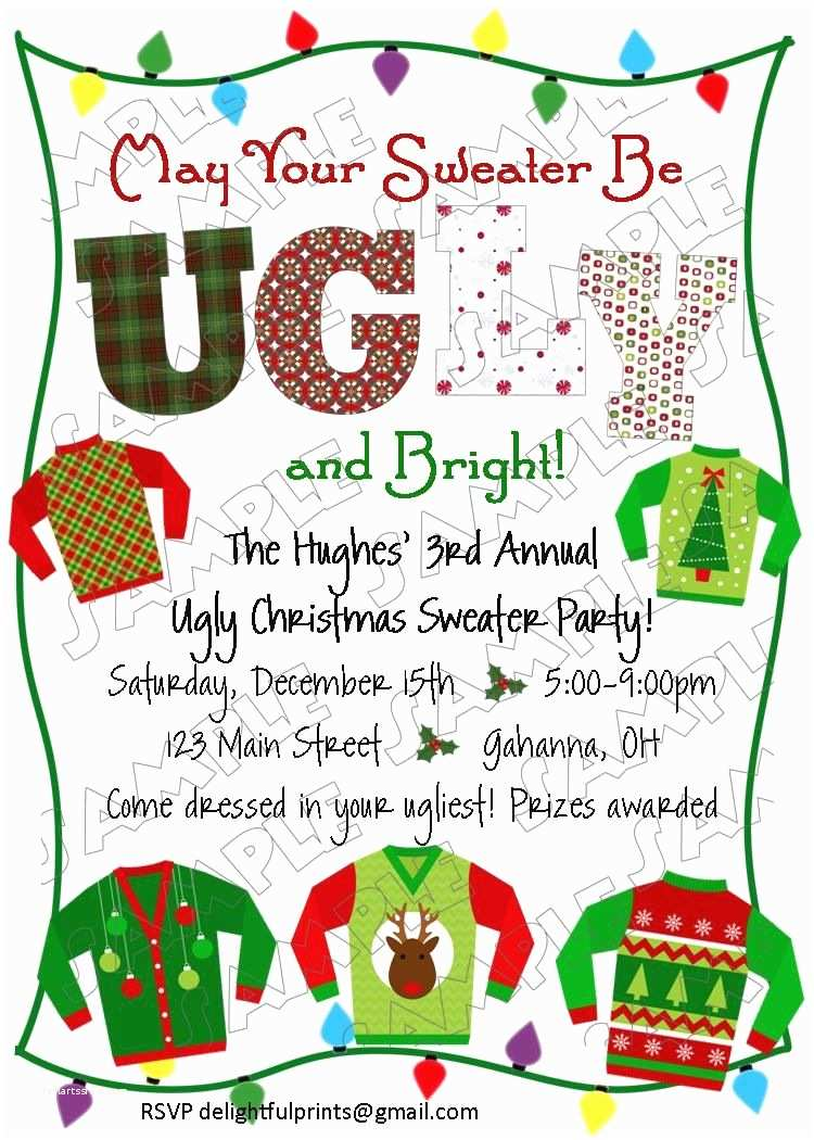 Ugly Sweater Christmas Party Invitations Ugly Christmas Sweater Holiday Party Invite