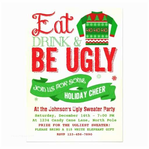 Ugly Sweater Christmas Party Invitations Ugly Sweater Christmas Party Holiday Invitation