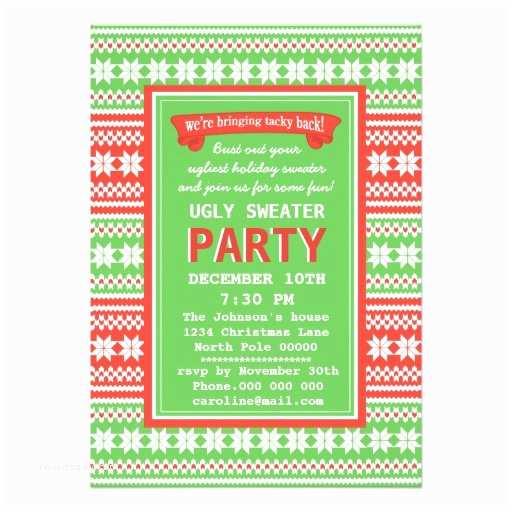 Ugly Sweater Christmas Party Invitations Ugly Sweater Christmas Party Invitation