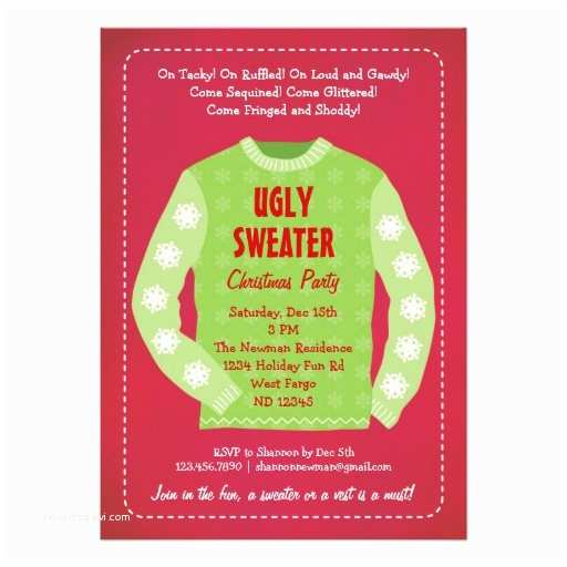 """Ugly Sweater Christmas Party Invitations Ugly Sweater Holiday Party Invitation 5"""" X 7"""" Invitation"""