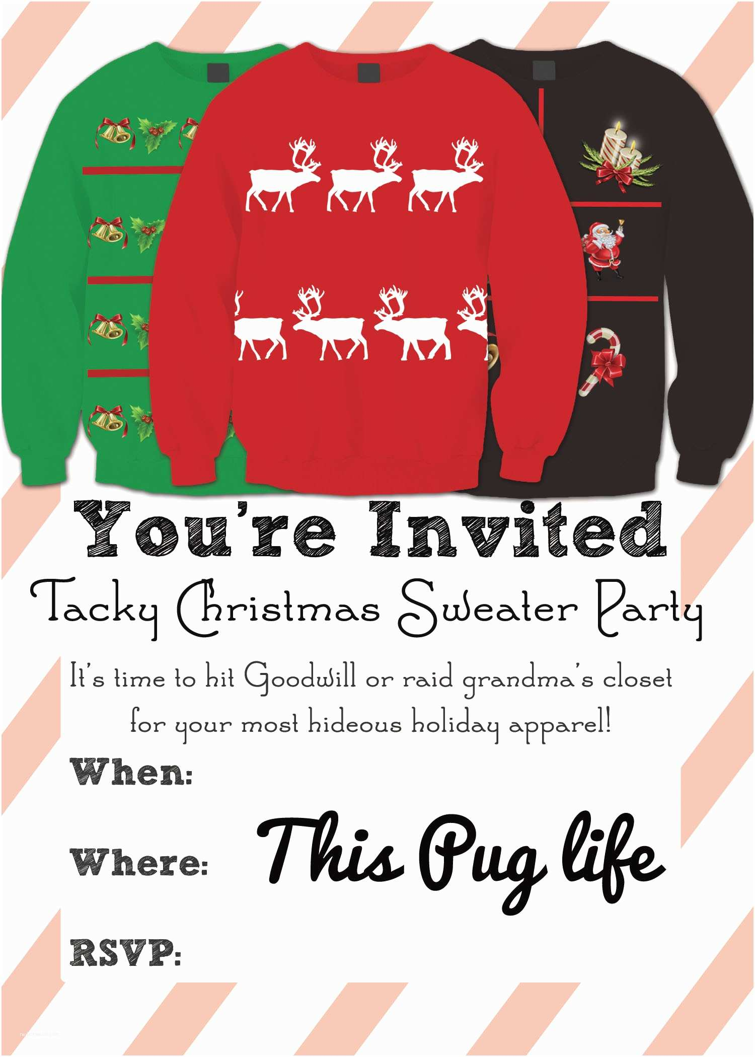 Ugly Sweater Party Invitations Tacky Christmas Sweater Party Invitations – Free Printable