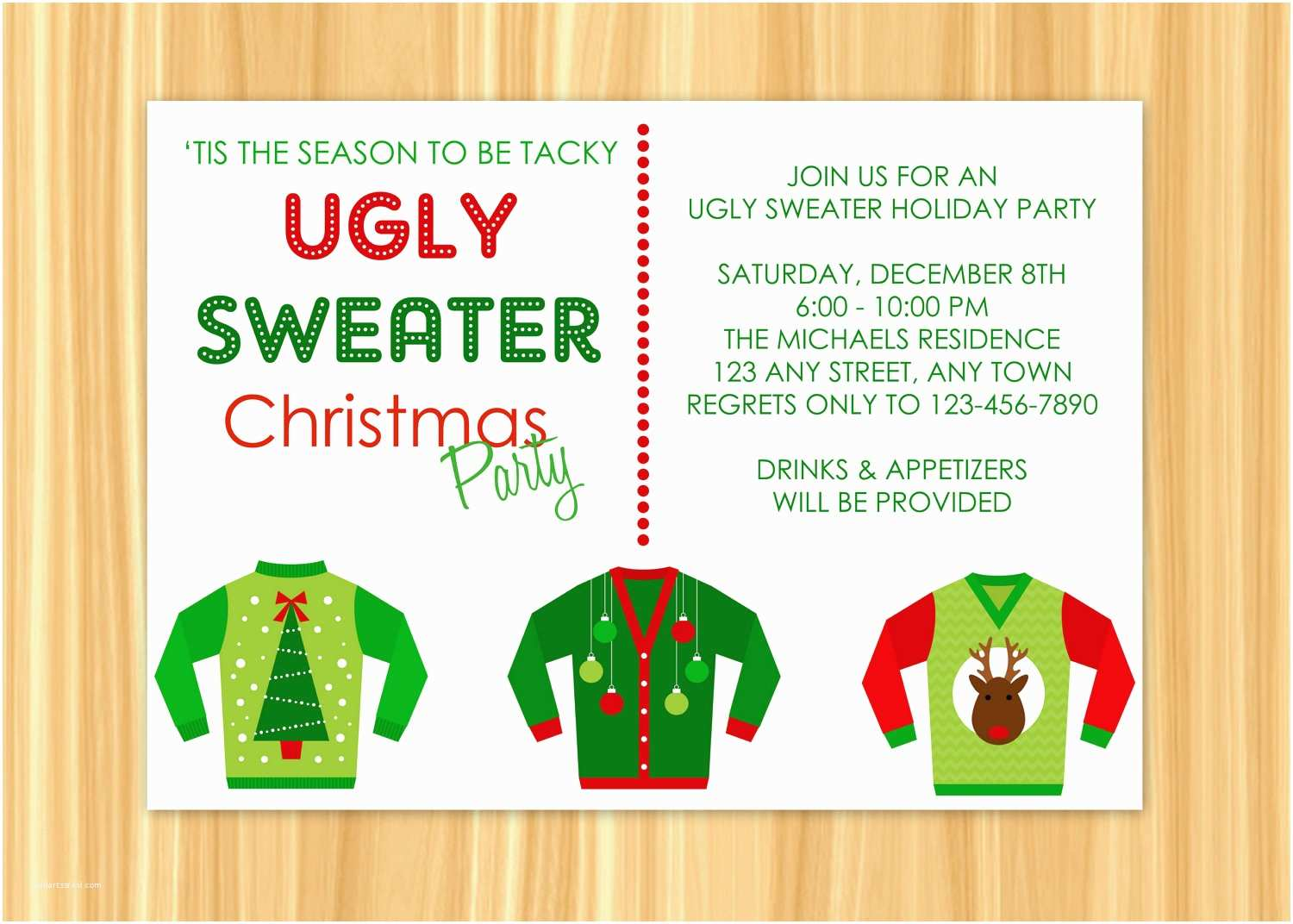 Ugly Sweater Party Invitations Ugly Sweater Christmas Party Invitations