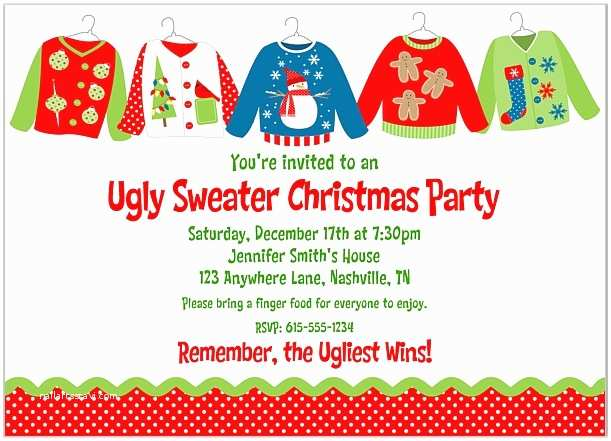 Ugly Sweater Party Invitations Ugly Sweater Christmas Party Invitations Wording Best