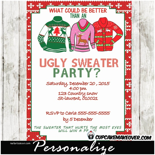 ugly sweater holiday party invitation personalized d6