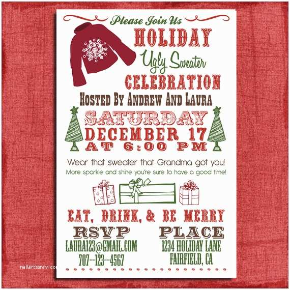 Ugly Sweater Party Invites Holiday Christmas Ugly Sweater Party Invitation 4x6