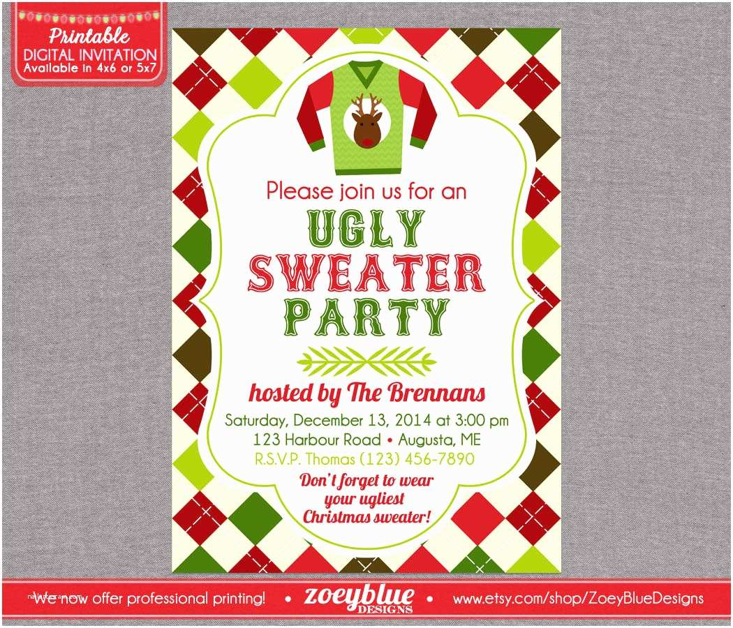 Ugly Sweater Party Invites Invitations for Ugly Christmas Sweater Party Long