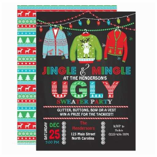 Ugly Sweater Party Invites Tacky Ugly Sweater Christmas Party Invitation