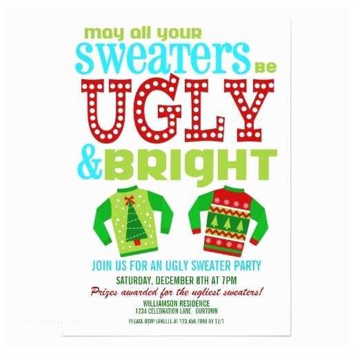 Ugly Sweater Party Invites Ugly and Bright Christmas Sweaters Party 5x7 Paper