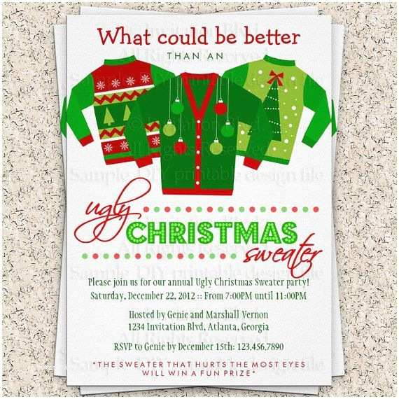 Ugly Sweater Party Invites Ugly Christmas Sweater Party Invitation Ugly by
