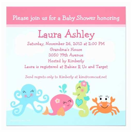 Under the Sea Baby Shower Invitations Personalized Under the Sea Invitations