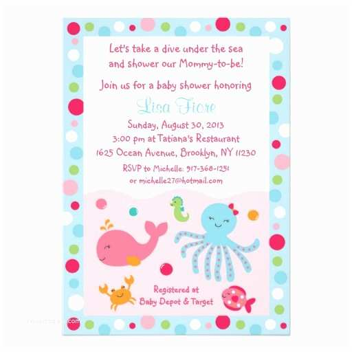 Under the Sea Baby Shower Invitations Pink Under the Sea Baby Shower Invitations
