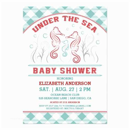"Under the Sea Baby Shower Invitations Under the Sea Baby Shower Invitation 5"" X 7"" Invitation"