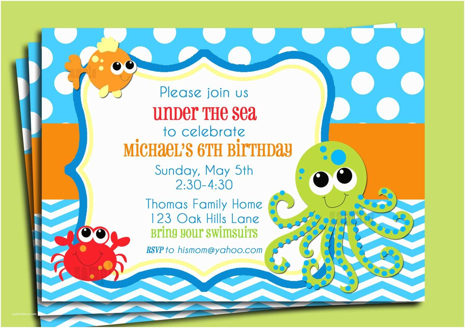 Under the Sea Baby Shower Invitations Under the Sea Invitation Printable or Printed with Free