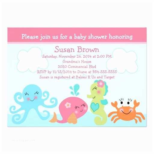 Under the Sea Baby Shower Invitations Under the Sea Life Girl Baby Shower Invitation