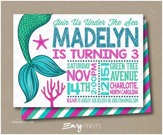 Under the Sea Birthday Invitations Mermaid Birthday Invitation Under the Sea by Emryprints