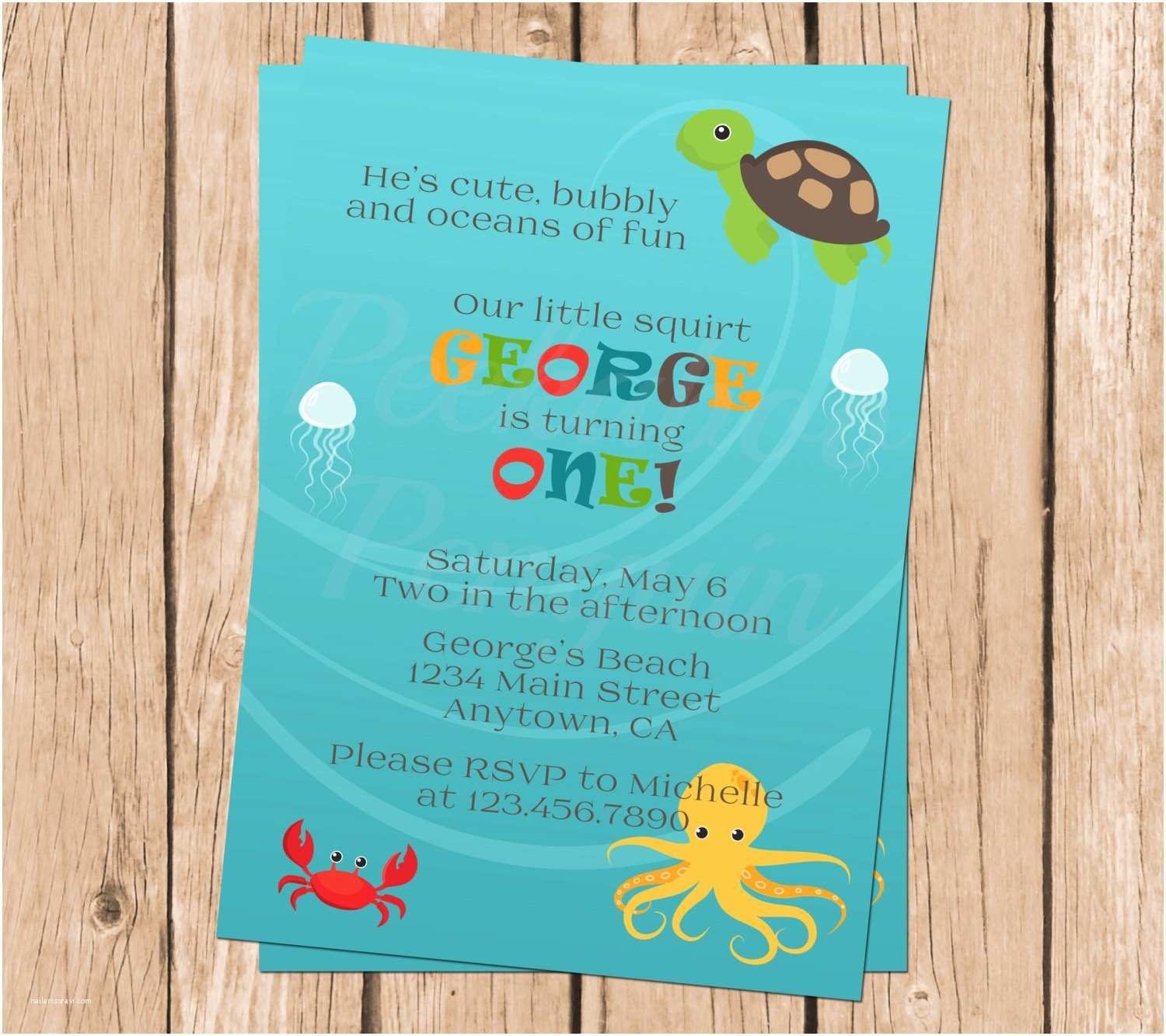 Under the Sea Birthday Invitations Ocean First Birthday Invitation Under the Sea Party Invites