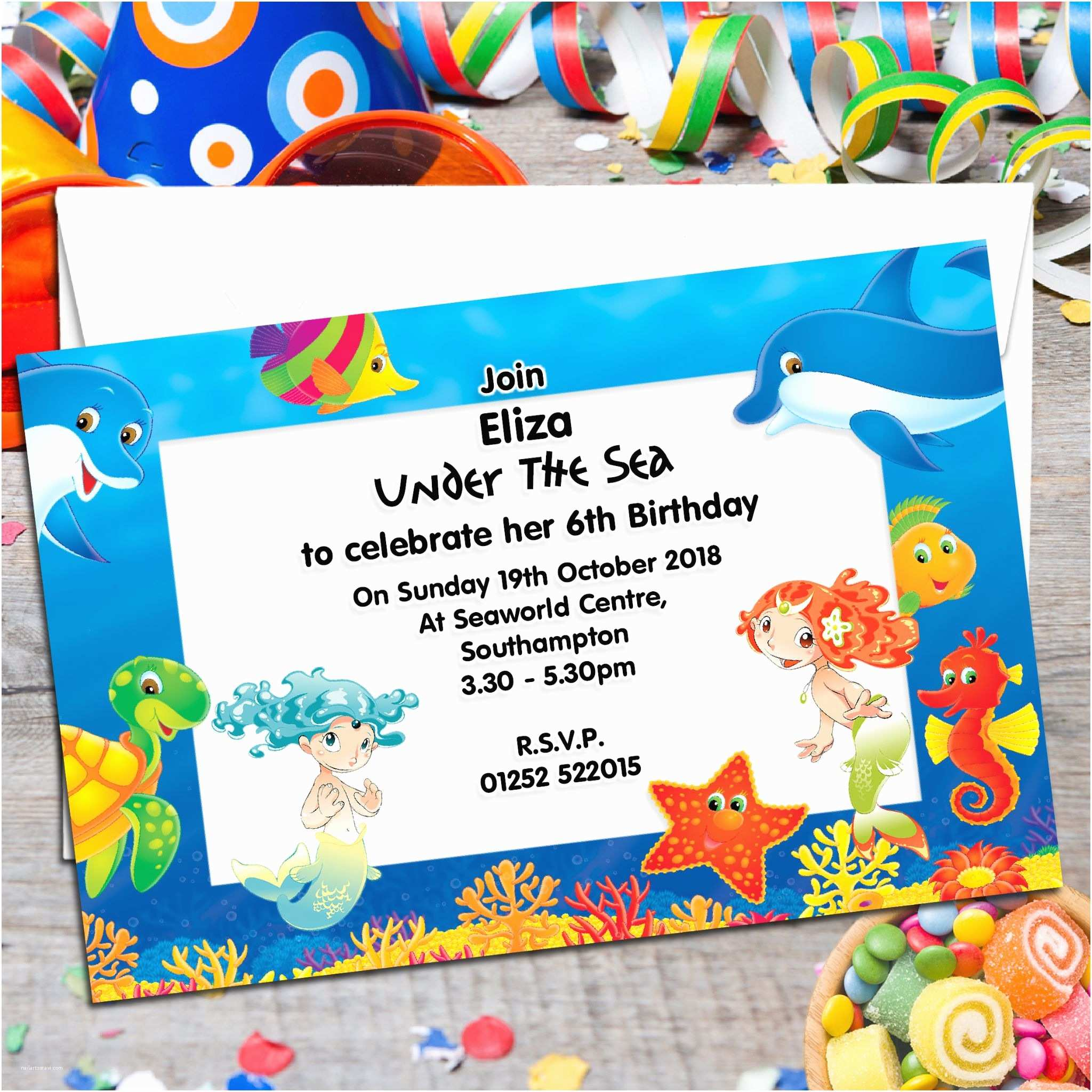 Under the Sea Party Invitations 10 Personalised Under the Sea Birthday Party Invitations N70