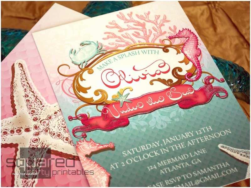 Under the Sea Party Invitations Mermaid Printable Birthday Party Invitation Under the Sea
