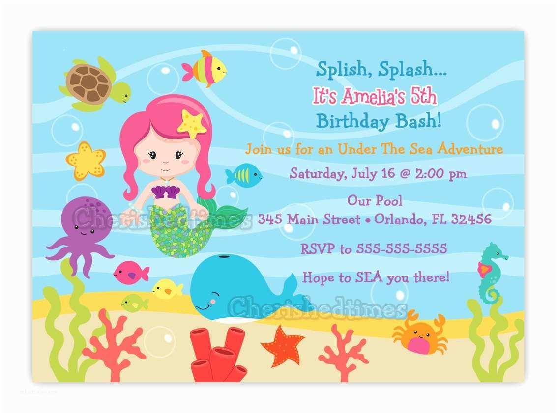 Under the Sea Party Invitations Under the Sea Birthday Invitation Choose Mermaid You Print