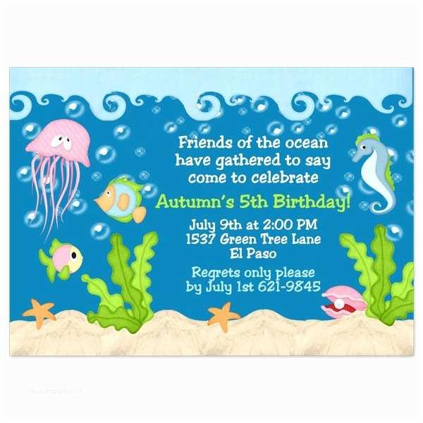 Under the Sea Party Invitations Under the Sea Birthday Invitations Wording