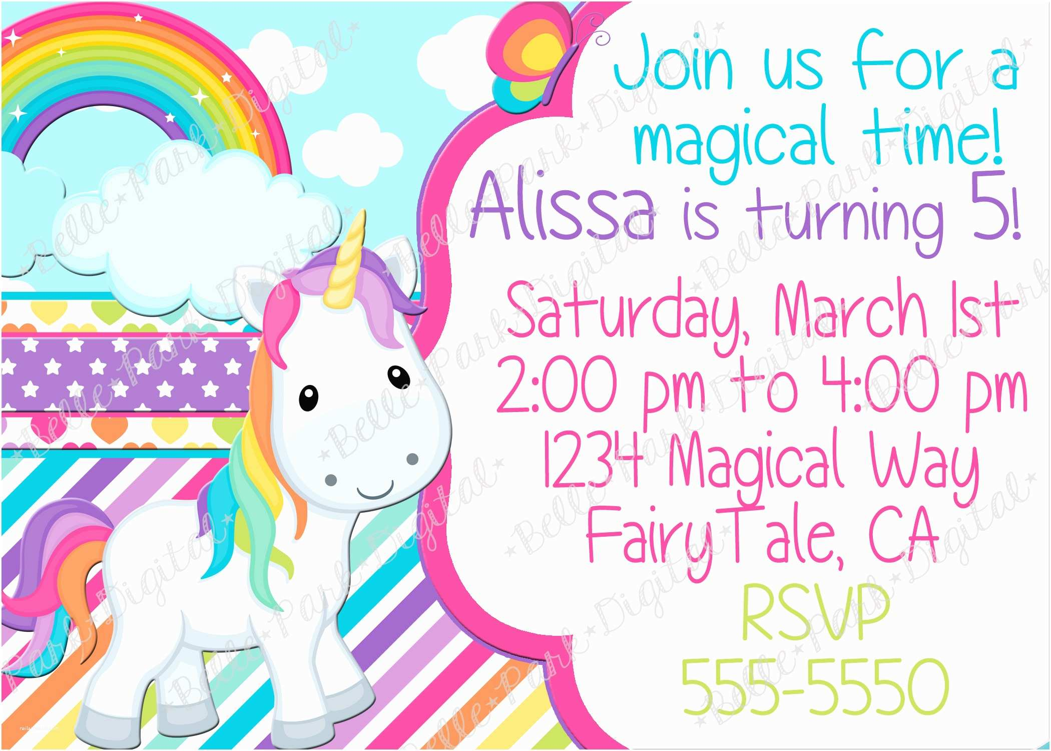 Unicorn Birthday Invitations Birthday Invites Cute 10 Unicorn Birthday Invitations for