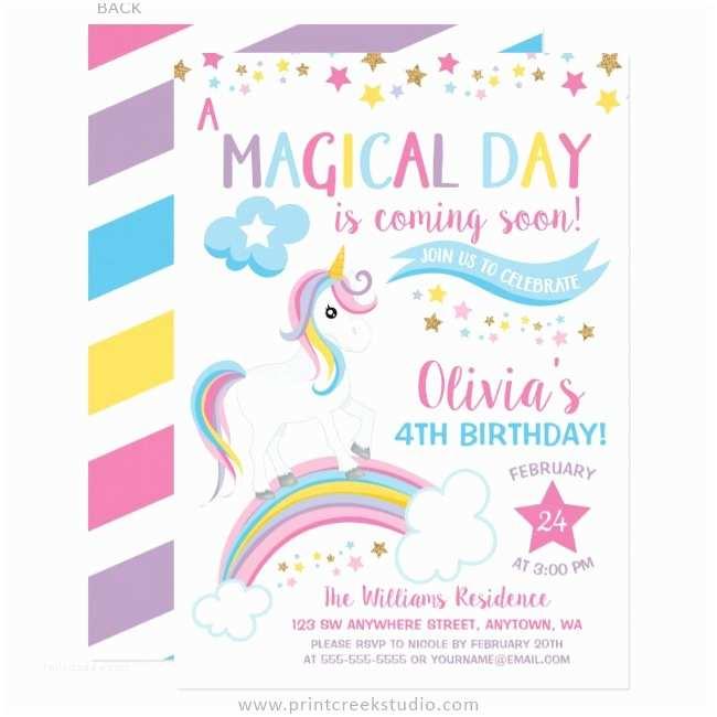 Unicorn Birthday Invitations Magical Rainbow Unicorn Birthday Invitations Print Creek