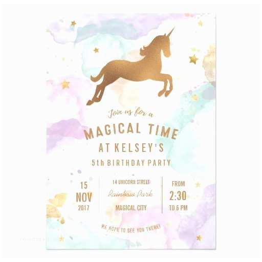 Unicorn Birthday Invitations Pastel Unicorn Birthday Party Invitation