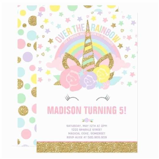 Unicorn Birthday Invitations Rainbow Unicorn Birthday Invitation Pink Gold