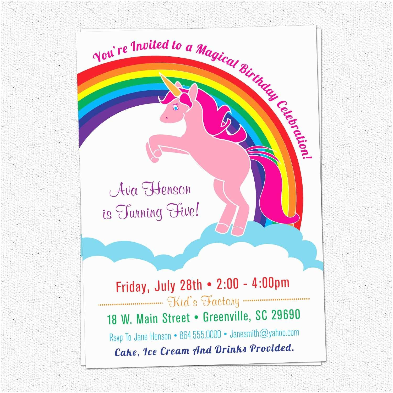 Unicorn Birthday Invitations Unicorn Birthday Party Invitations Rainbow Pink Pony
