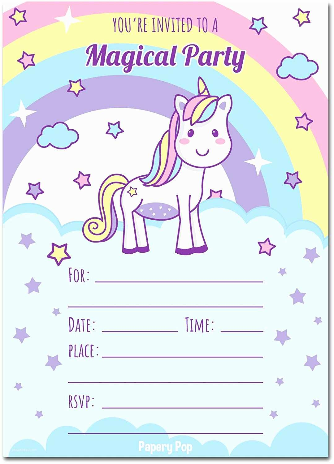 Unicorn Birthday Invitations Unicorn Birthday Party Printed Invitations