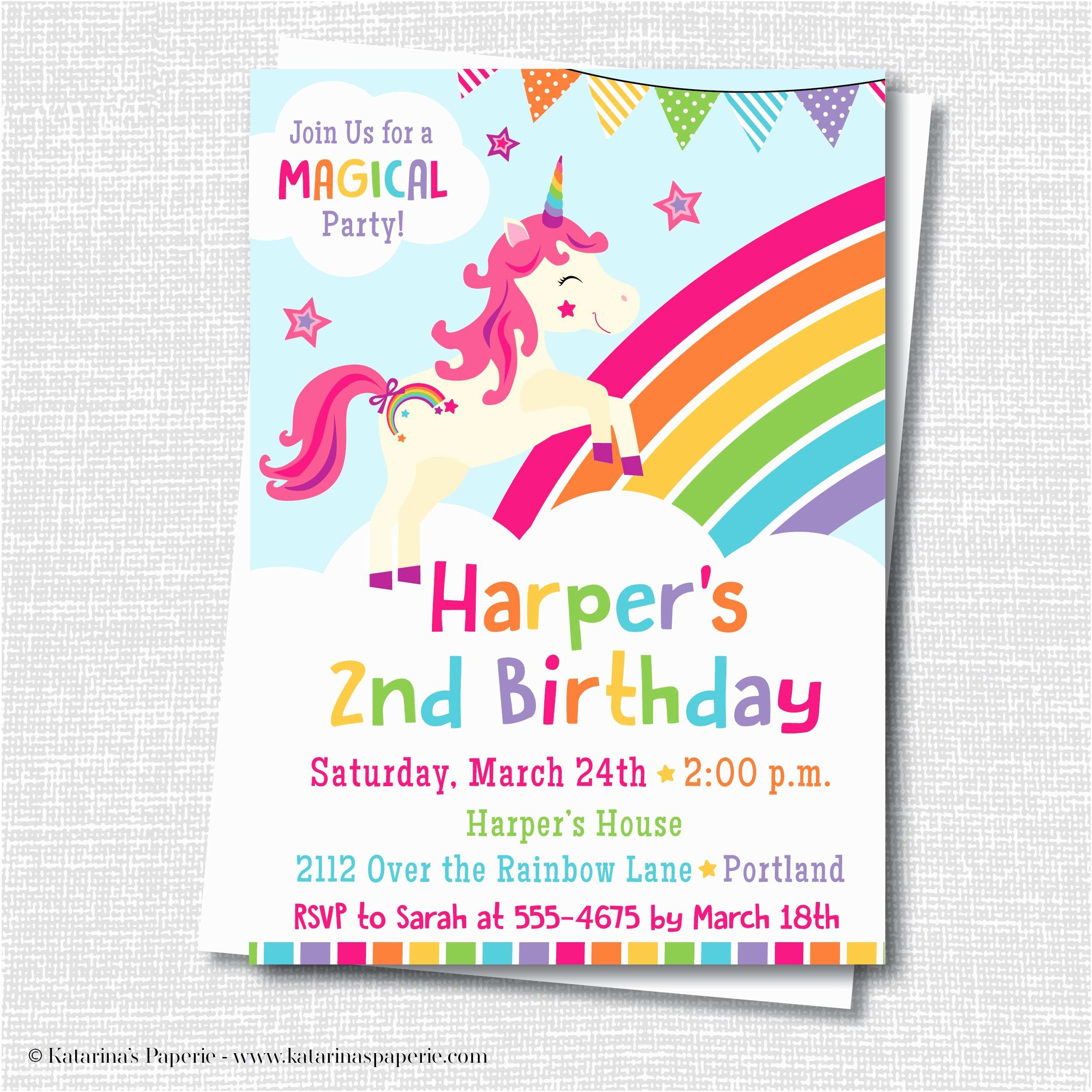Unicorn Birthday Invitations Unicorn Party Invitation Katarina S Paperie