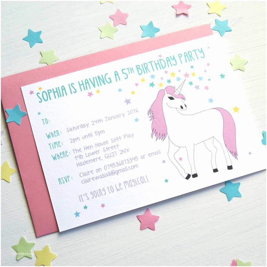 Unicorn Birthday Invitations Unicorn Personalised Birthday Party Invitations by