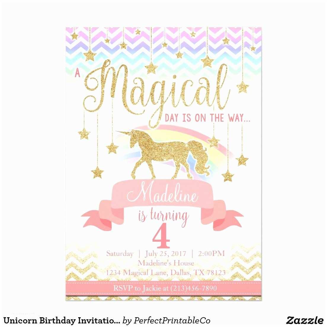 Unicorn Birthday Party Invitations Magical Rainbow Unicorn Birthday Party Invitation