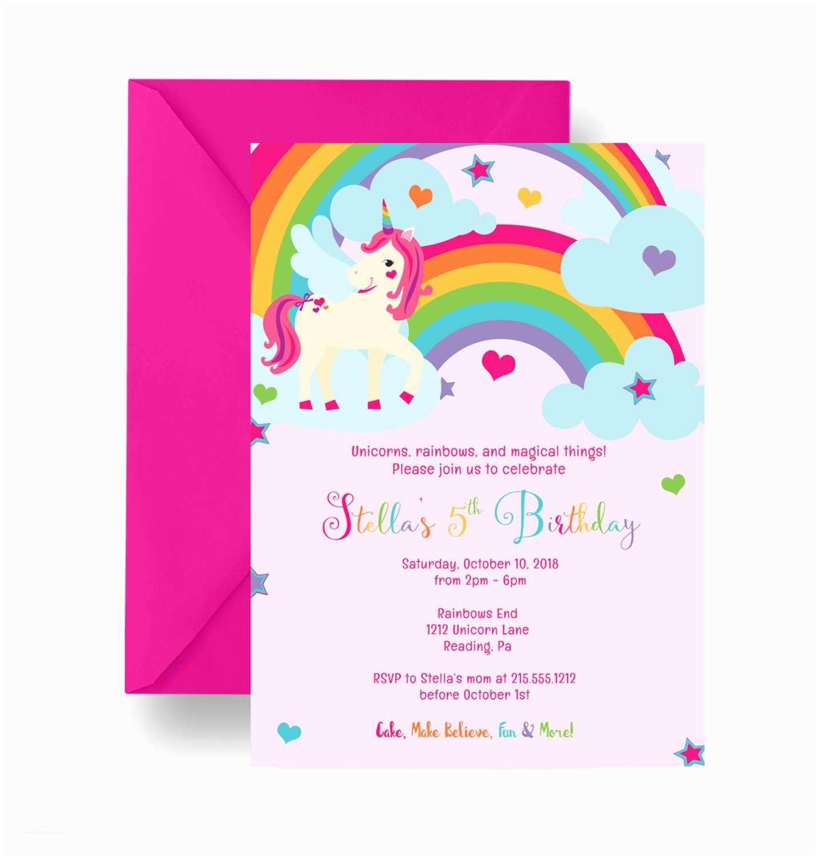 Unicorn Birthday Party Invitations Pink Unicorn Birthday Party Invitation Girls by