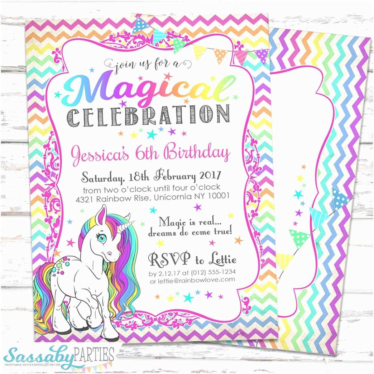 Unicorn Birthday Party Invitations Rainbow Unicorn Invitation