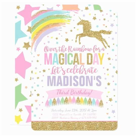 Unicorn Birthday Party Invitations Invitation Pink Gold
