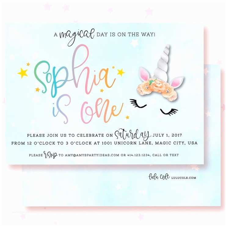 Unicorn Birthday Party Invitations Unicorn Birthday Invitations